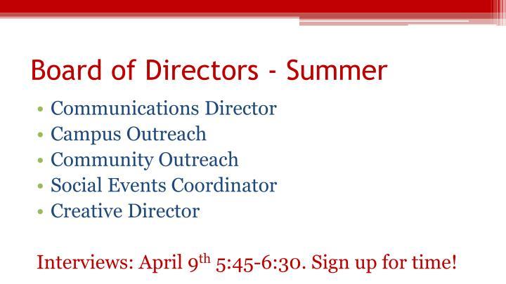 Board of Directors - Summer