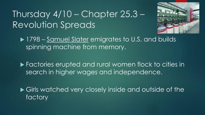 Thursday 4/10 – Chapter 25.3 – Revolution Spreads