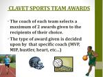 clavet sports team awards