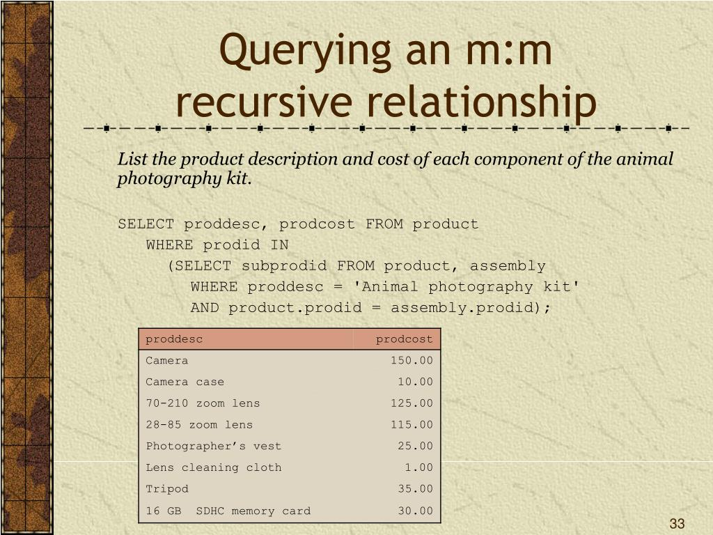 PPT - One-to-One and Recursive Relationships PowerPoint