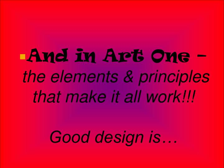 And in Art One –