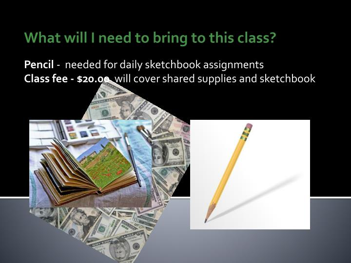 What will I need to bring to this class?