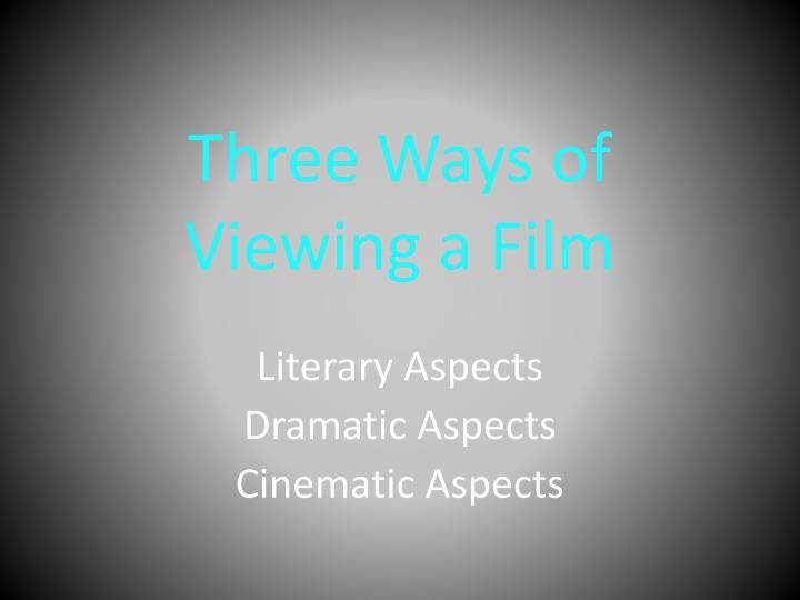three ways of viewing a film n.