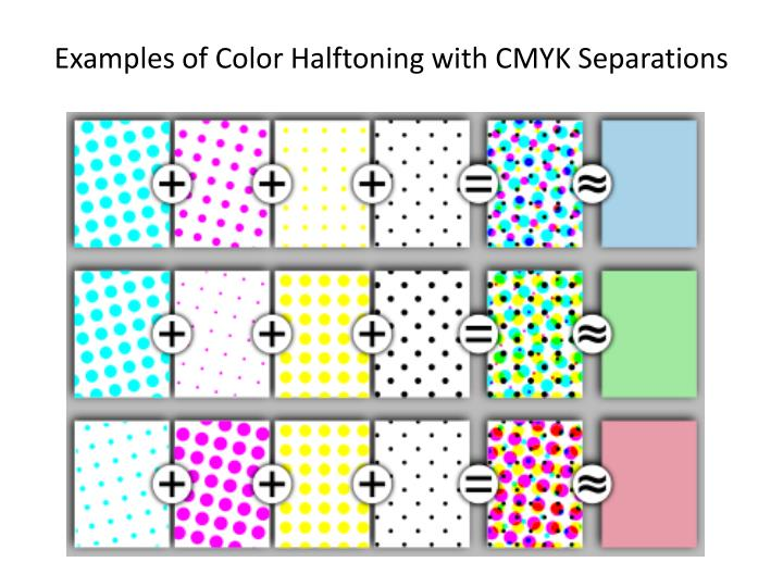 Examples of color halftoning with cmyk separations