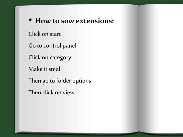 How to sow extensions: