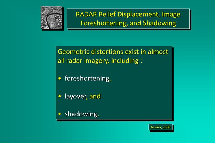 RADAR Relief Displacement, Image Foreshortening, and Shadowing
