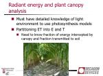 radiant energy and plant canopy analysis1