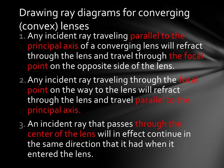 Drawing ray diagrams for converging (convex) lenses