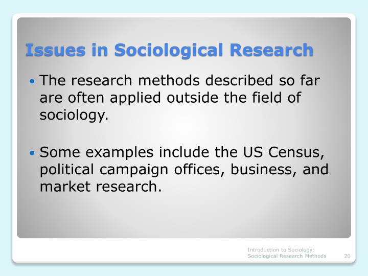 sociological research examples