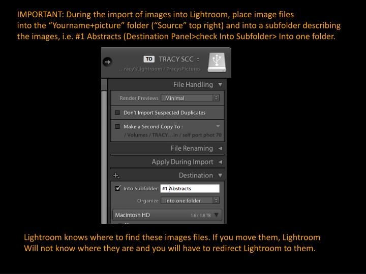 IMPORTANT: During the import of images into Lightroom, place image files
