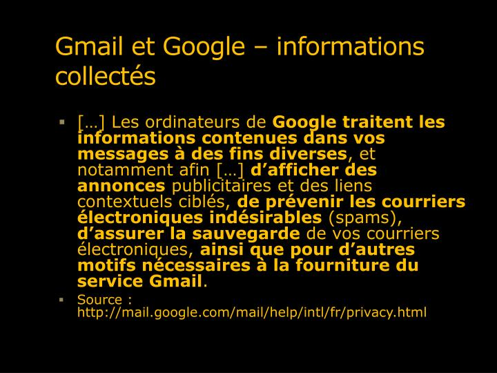 Gmail et Google – informations collectés