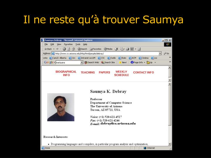 Il ne reste qu'à trouver Saumya