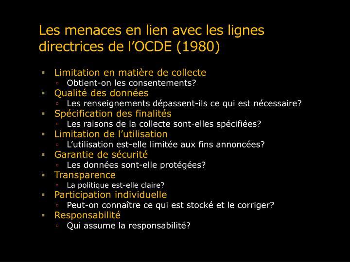 Les menaces en lien avec les lignes directrices de l'OCDE (1980)