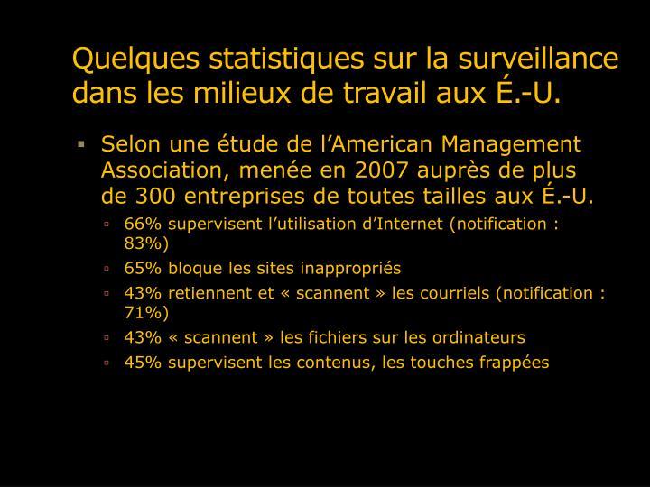 Quelques statistiques sur la surveillance dans les milieux de travail aux É.-U.
