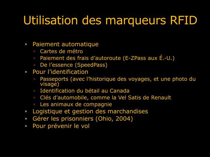 Utilisation des marqueurs RFID