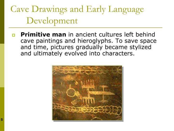Cave drawings and early language development