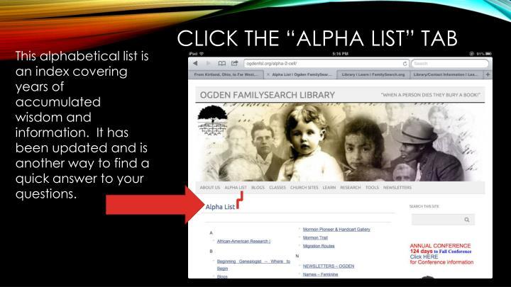 "Click the ""Alpha List"" tab"