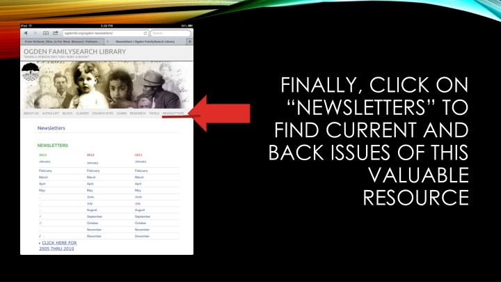 """Finally, click on """"newsletters"""" to find current and back issues of this valuable resource"""