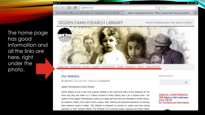 The home page has good information and all the links are here, right under the photo.