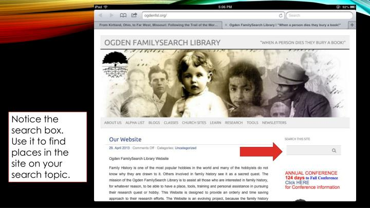 Notice the search box.  Use it to find places in the site on your search topic.