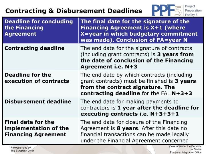 Contracting & Disbursement Deadlines