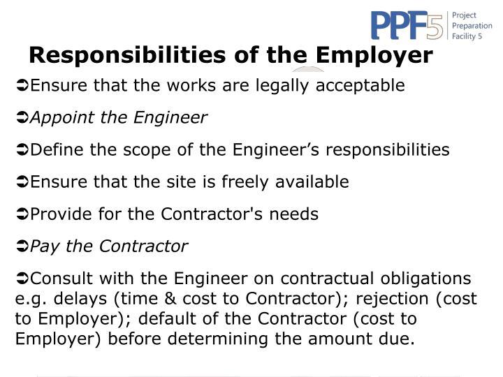 Responsibilities of the Employer