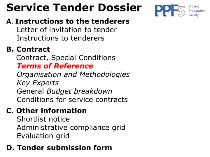 Service Tender Dossier