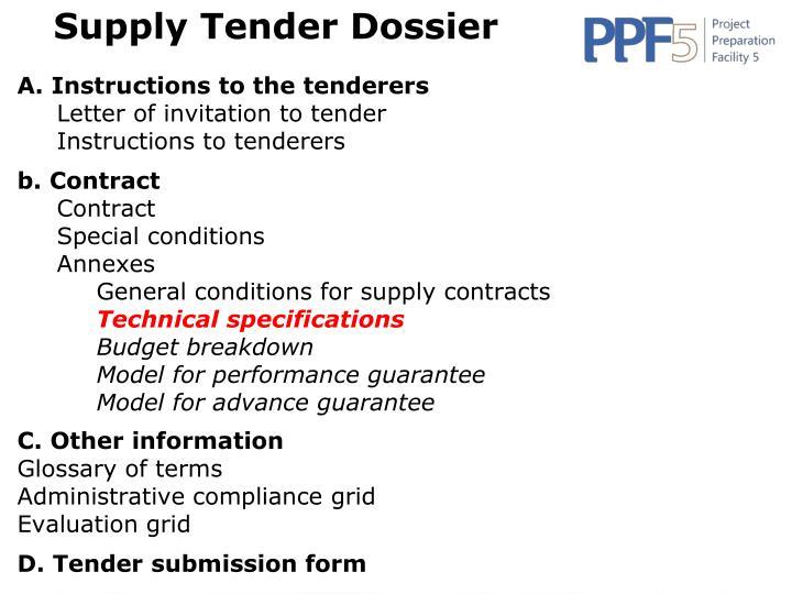 Supply Tender Dossier