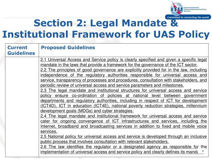 Section 2: Legal Mandate & Institutional Framework for UAS Policy
