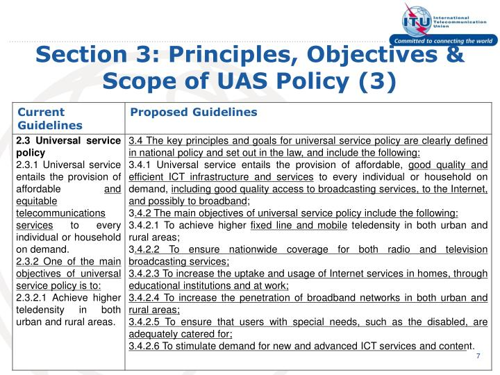 Section 3: Principles, Objectives & Scope of UAS Policy (3)