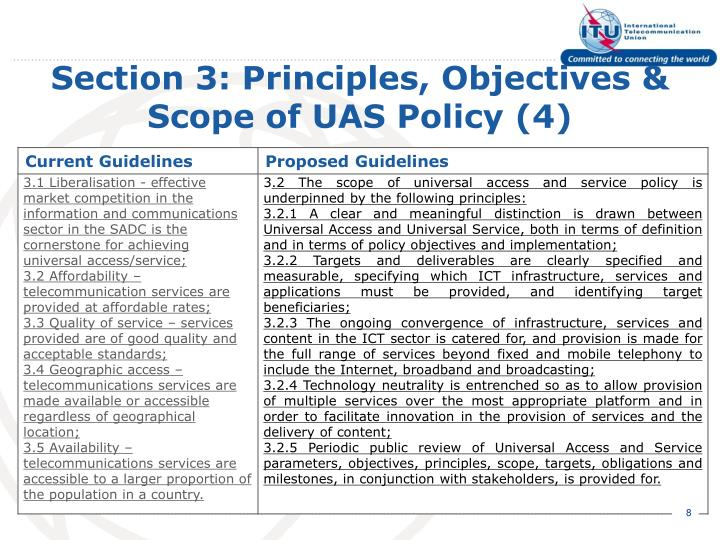 Section 3: Principles, Objectives & Scope of UAS Policy (4)