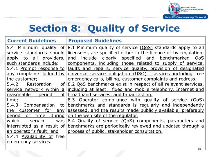 Section 8:  Quality of Service