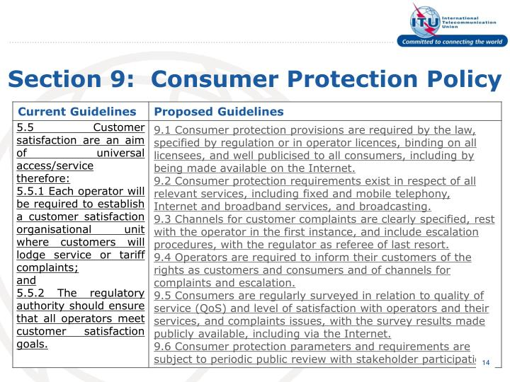 Section 9:  Consumer Protection Policy