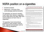 nsra position on e cigarettes