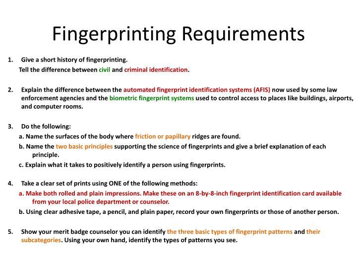 Fingerprinting Requirements