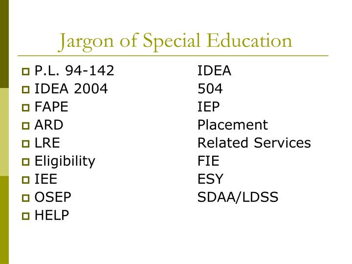 Jargon of special education