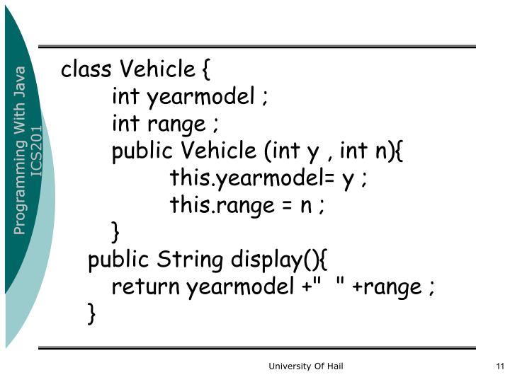 class Vehicle {