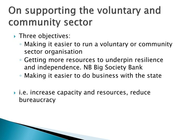 On supporting the voluntary and community sector
