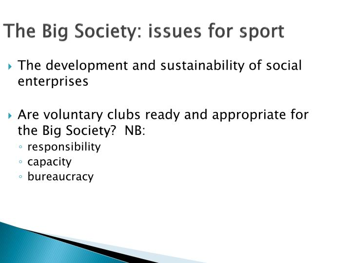 The Big Society: issues for sport