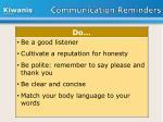 communication reminders