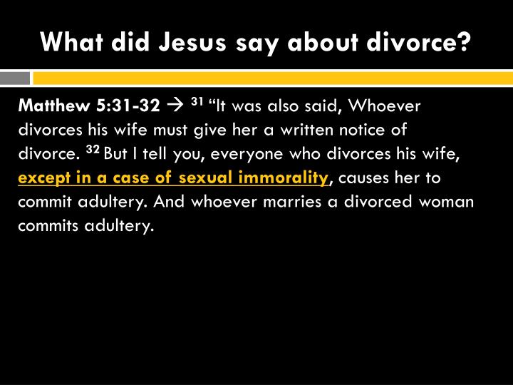 What did Jesus say about divorce?