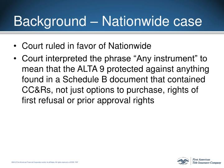 Background – Nationwide case