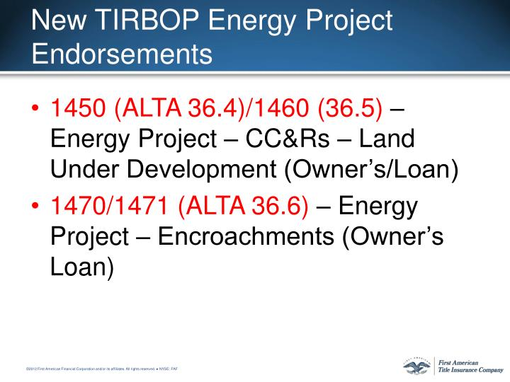 New TIRBOP Energy Project Endorsements