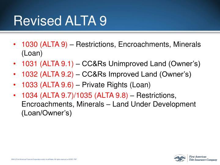 Revised ALTA 9