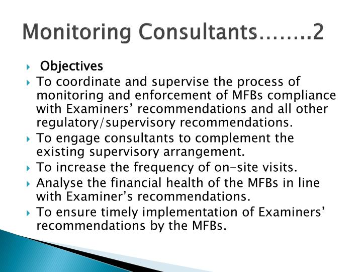 Monitoring Consultants……..2