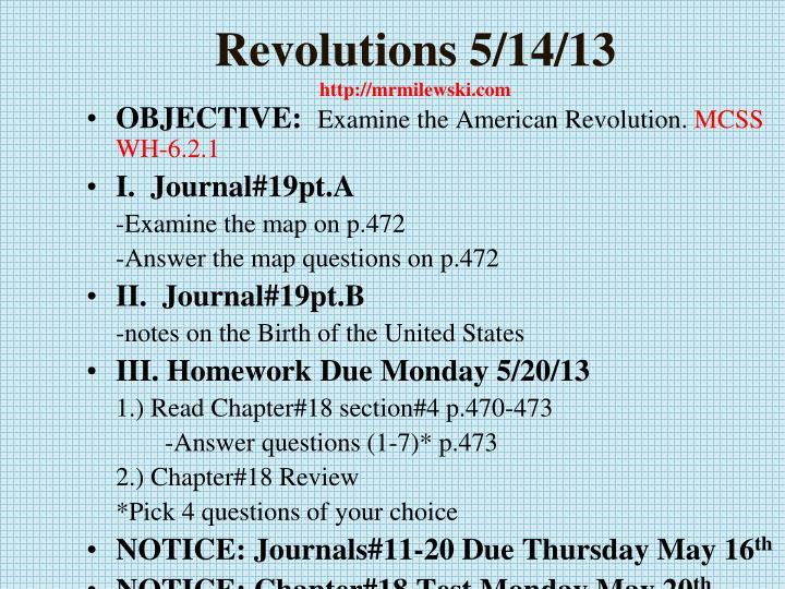 Revolutions 5 14 13 http mrmilewski com
