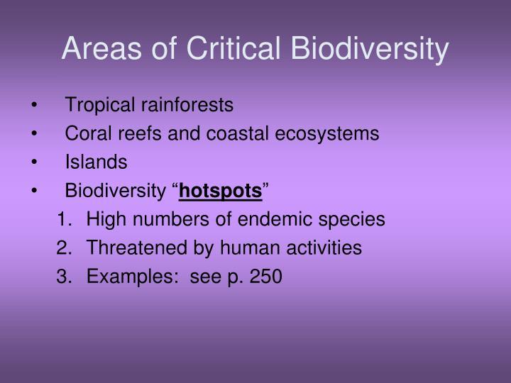 Areas of Critical Biodiversity