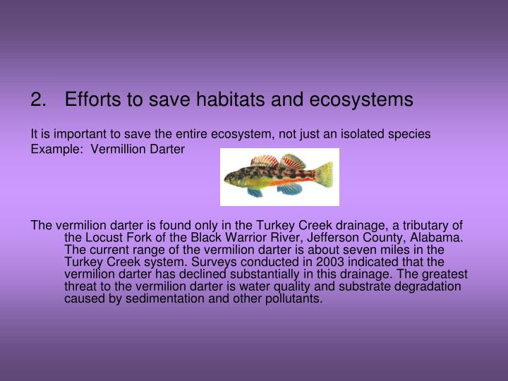 Efforts to save habitats and ecosystems