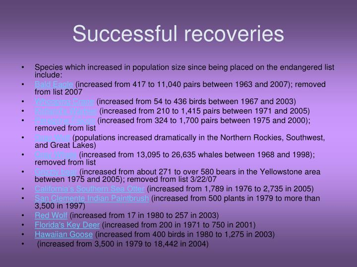Successful recoveries