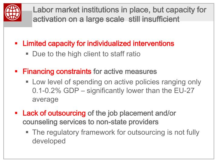 Labor market institutions in place, but capacity for activation on a large scale  still
